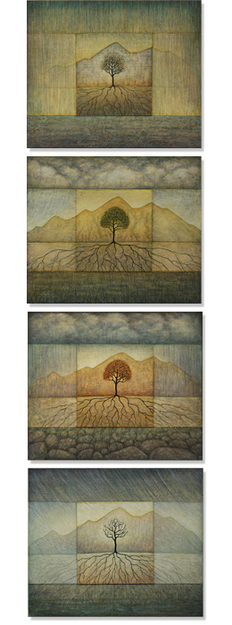 Growth (from top, Spring, Summer, Fall and Winter), 2010, oil on panel, 28 x 33 inches each